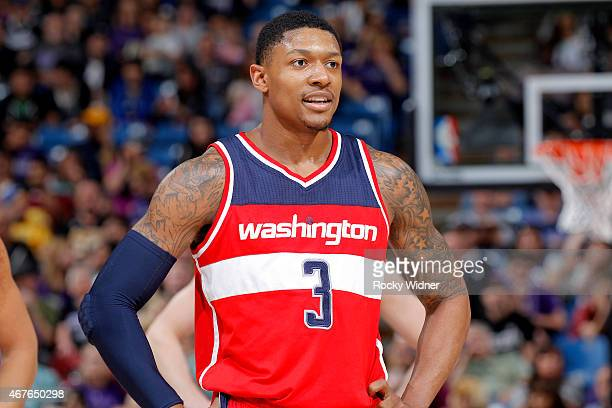 Bradley Beal of the Washington Wizards looks on during the game against the Sacramento Kings on March 22 2015 at Sleep Train Arena in Sacramento...