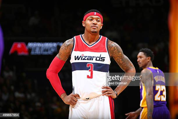 Bradley Beal of the Washington Wizards looks on during the game against the Los Angeles Lakers on December 2 2015 at Verizon Center in Washington DC...