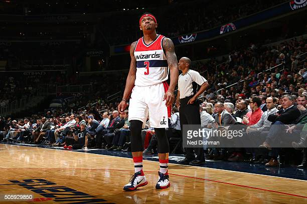 Bradley Beal of the Washington Wizards looks on during the game against the Miami Heat on January 20 2016 at Verizon Center in Washington DC NOTE TO...
