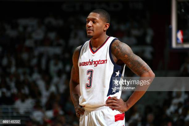 Bradley Beal of the Washington Wizards looks on during the game against the Atlanta Hawks during the Eastern Conference Quarterfinals of the 2017 NBA...