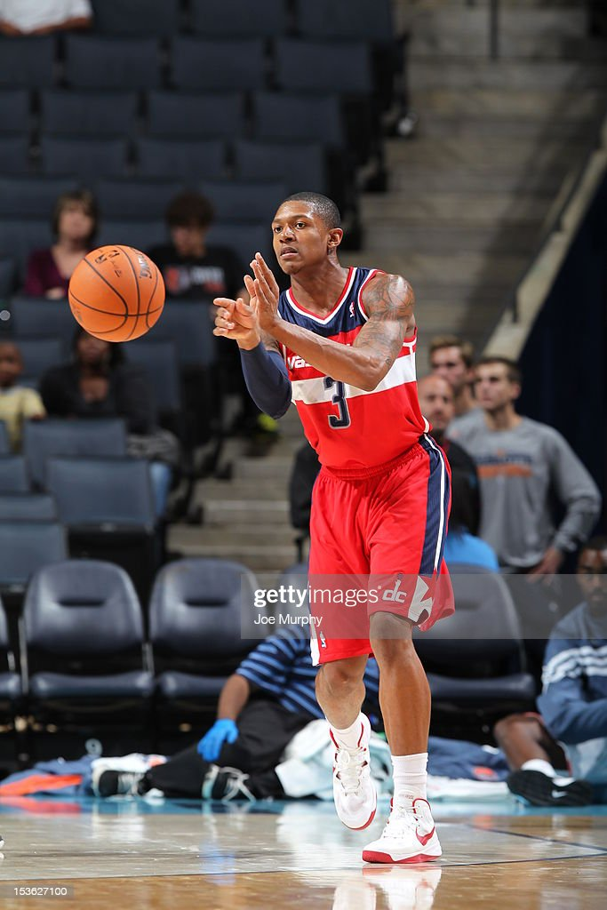<a gi-track='captionPersonalityLinkClicked' href=/galleries/search?phrase=Bradley+Beal&family=editorial&specificpeople=7640439 ng-click='$event.stopPropagation()'>Bradley Beal</a> #3 of the Washington Wizards makes a pass during the game between the Charlotte Bobcats and the Washington Wizards at the Time Warner Cable Arena on October 7, 2012 in Charlotte, North Carolina.