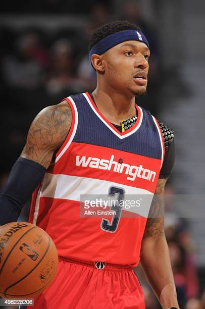 Bradley Beal of the Washington Wizards moves the ball against the Detroit Pistons during the game on November 21 2015 at The Palace of Auburn Hills...