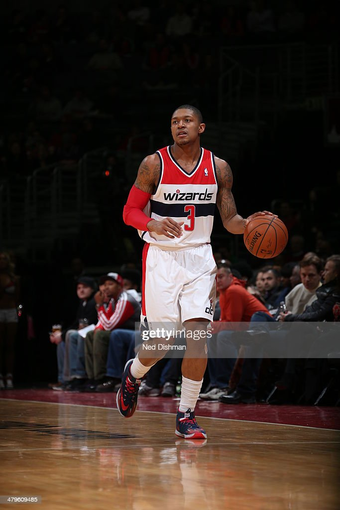 <a gi-track='captionPersonalityLinkClicked' href=/galleries/search?phrase=Bradley+Beal&family=editorial&specificpeople=7640439 ng-click='$event.stopPropagation()'>Bradley Beal</a> #3 of the Washington Wizards moves the ball up-court against the Memphis Grizzlies at the Verizon Center on March 3, 2014 in Washington, DC.