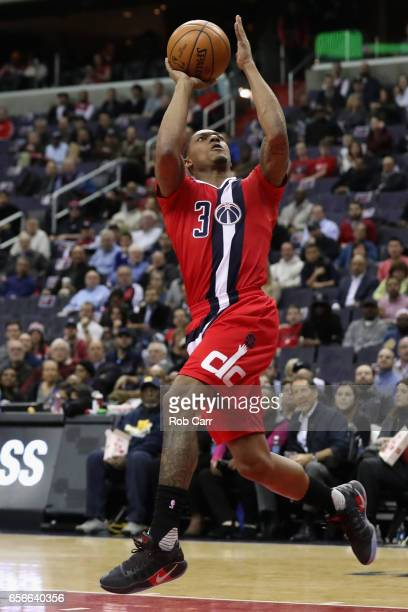 Bradley Beal of the Washington Wizards puts up a shot against the Atlanta Hawks in the first half at Verizon Center on March 22 2017 in Washington DC...