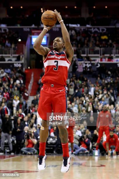 Bradley Beal of the Washington Wizards puts up a shot against the Miami Heat in the second half at Capital One Arena on November 17 2017 in...