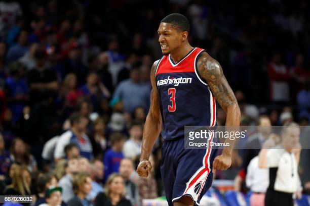 Bradley Beal of the Washington Wizards reacts after a fourth quarter dunk while playing the Detroit Pistons at the final NBA game at the Palace of...