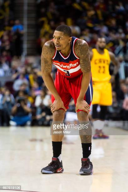 Bradley Beal of the Washington Wizards reacts after a play during the second half against the Cleveland Cavaliers at Quicken Loans Arena on March 25...