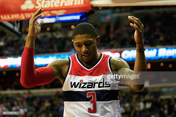 Bradley Beal of the Washington Wizards reacts after getting fouled during the second half of the Wizards 10496 win over the Los Angeles Clippers at...
