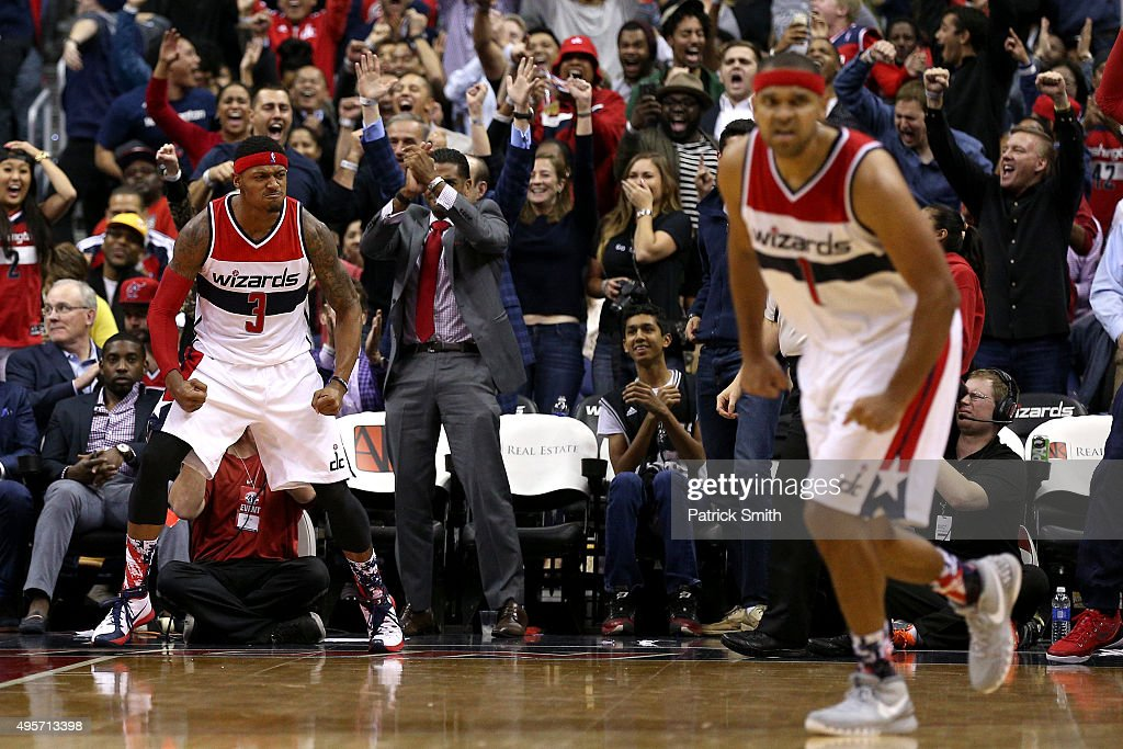 <a gi-track='captionPersonalityLinkClicked' href=/galleries/search?phrase=Bradley+Beal&family=editorial&specificpeople=7640439 ng-click='$event.stopPropagation()'>Bradley Beal</a> #3 of the Washington Wizards reacts after making a basket against the San Antonio Spurs during the second half at Verizon Center on November 4, 2015 in Washington, DC. The Washington Wizards won, 102-99.