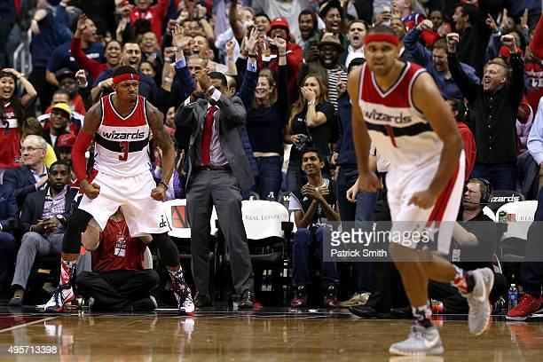 Bradley Beal of the Washington Wizards reacts after making a basket against the San Antonio Spurs during the second half at Verizon Center on...