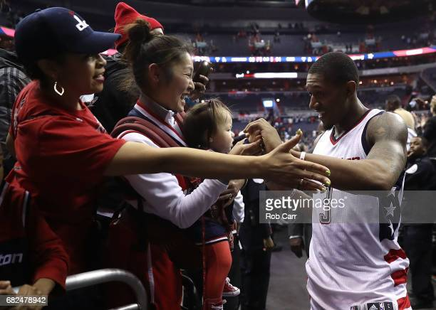 Bradley Beal of the Washington Wizards reacts after their 9291 win over the Boston Celtics during Game Six of the NBA Eastern Conference SemiFinals...