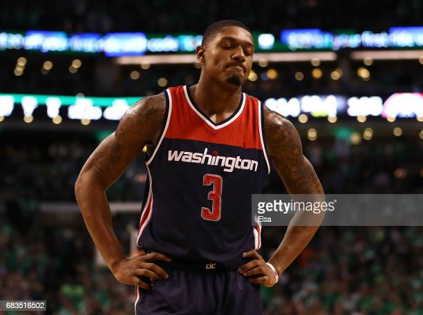 Bradley Beal of the Washington Wizards reacts against the Boston Celtics during Game Seven of the NBA Eastern Conference SemiFinals at TD Garden on...