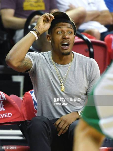 Bradley Beal of the Washington Wizards reacts as he attends a 2017 Summer League game between the Portland Trail Blazers and the Boston Celtics at...