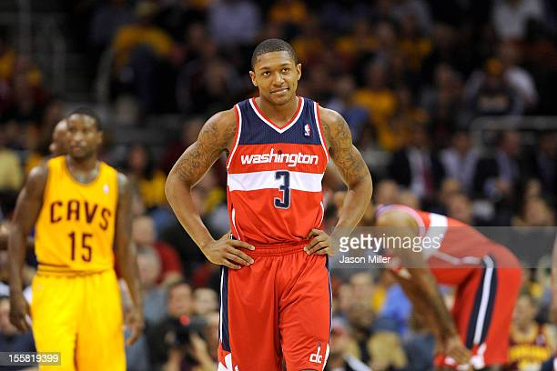 Bradley Beal of the Washington Wizards reacts on the court during the game against the Cleveland Cavaliers at Quicken Loans Arena on October 30 2012...