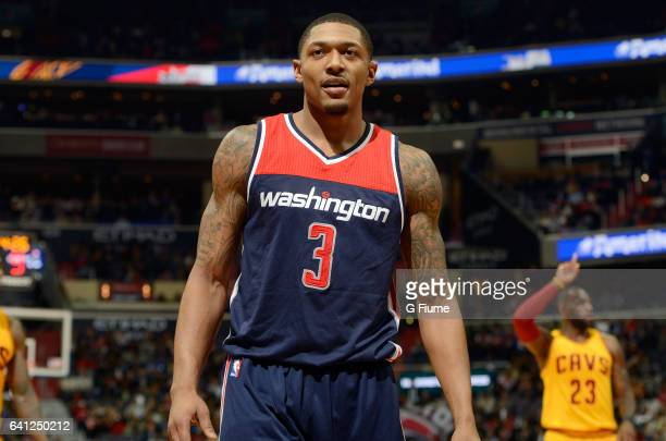 Bradley Beal of the Washington Wizards rests during a break in the game against the Cleveland Cavaliers at Verizon Center on February 6 2017 in...