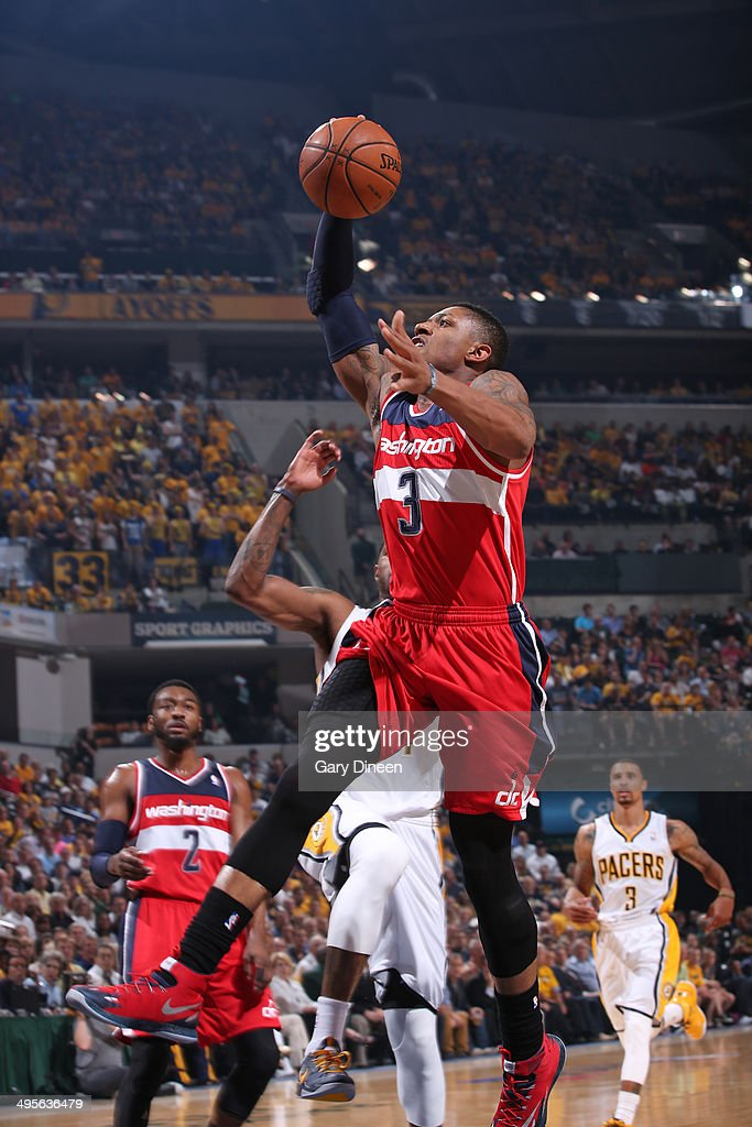 <a gi-track='captionPersonalityLinkClicked' href=/galleries/search?phrase=Bradley+Beal&family=editorial&specificpeople=7640439 ng-click='$event.stopPropagation()'>Bradley Beal</a> #3 of the Washington Wizards rises for a dunk against the Indiana Pacers in Game Five of the Eastern Conference Semifinals during the 2014 NBA Playoffs on May 13, 2014 at Bankers Life Fieldhouse in Indianapolis, Indiana.