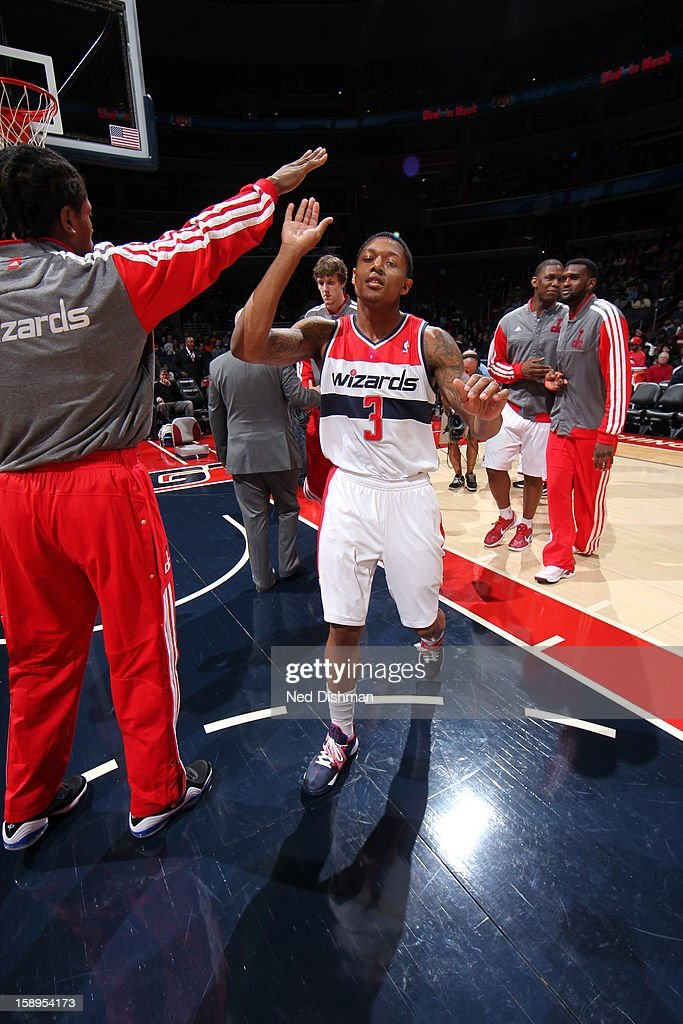 <a gi-track='captionPersonalityLinkClicked' href=/galleries/search?phrase=Bradley+Beal&family=editorial&specificpeople=7640439 ng-click='$event.stopPropagation()'>Bradley Beal</a> #3 of the Washington Wizards runs out before the game against the Orlando Magic at the Verizon Center on December 28, 2012 in Washington, DC.