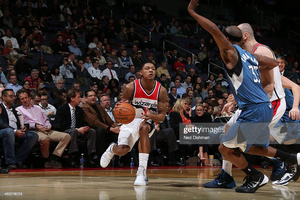 <a gi-track='captionPersonalityLinkClicked' href=/galleries/search?phrase=Bradley+Beal&family=editorial&specificpeople=7640439 ng-click='$event.stopPropagation()'>Bradley Beal</a> #3 of the Washington Wizards sets up for the shot against the Minnesota Timberwolves during the game at the Verizon Center on November 19, 2013 in Washington, DC.