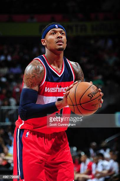 Bradley Beal of the Washington Wizards shoots a free throw against the Atlanta Hawks during the game on November 7 2015 at Philips Arena in Atlanta...