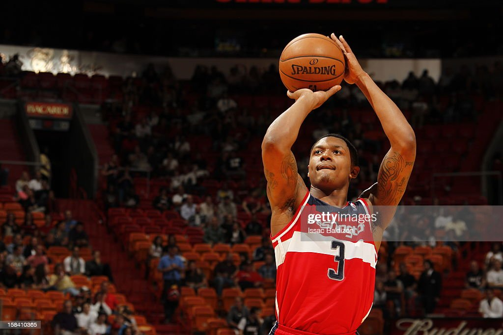 <a gi-track='captionPersonalityLinkClicked' href=/galleries/search?phrase=Bradley+Beal&family=editorial&specificpeople=7640439 ng-click='$event.stopPropagation()'>Bradley Beal</a> #3 of the Washington Wizards shoots a free throw during a game between the Washington Wizards and the Miami Heat on December 15, 2012 at American Airlines Arena in Miami, Florida.