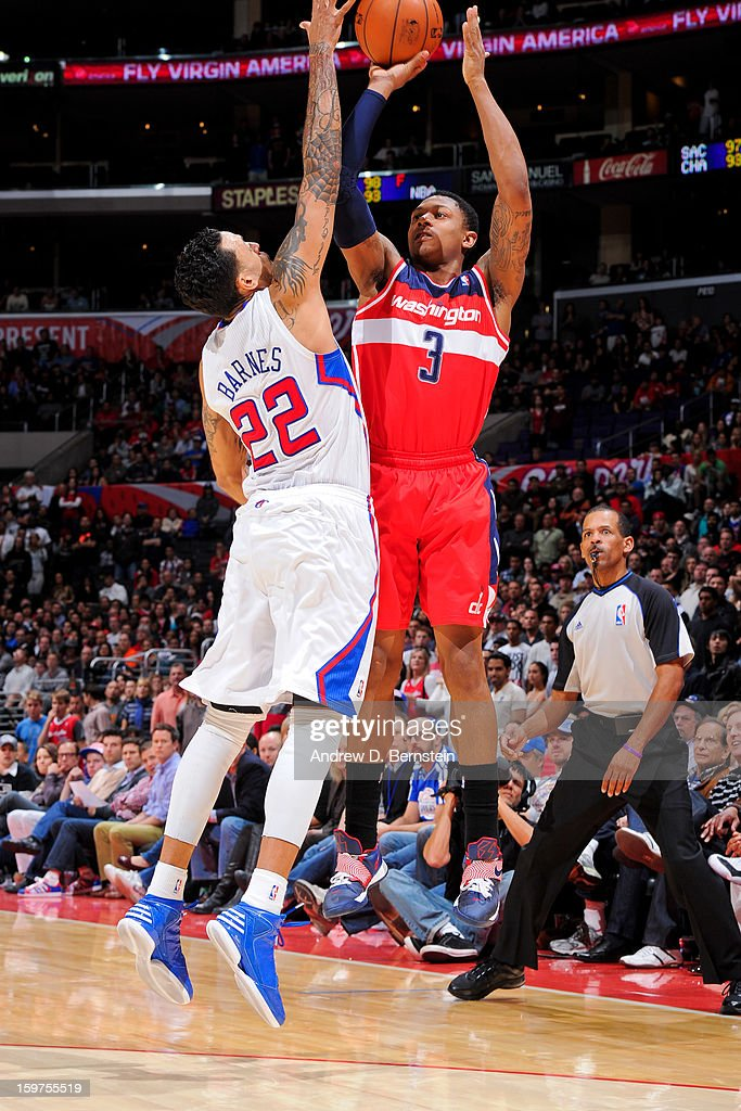 Bradley Beal #3 of the Washington Wizards shoots a three-pointer against Matt Barnes #22 of the Los Angeles Clippers at Staples Center on January 19, 2013 in Los Angeles, California.