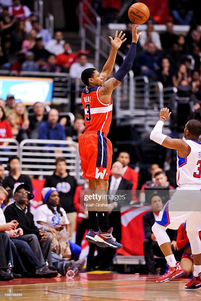 Bradley Beal #3 of the Washington Wizards shoots a three-pointer against the Los Angeles Clippers at Staples Center on January 19, 2013 in Los Angeles, California.
