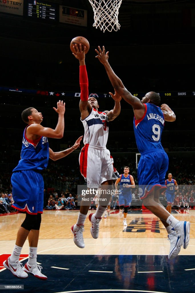 <a gi-track='captionPersonalityLinkClicked' href=/galleries/search?phrase=Bradley+Beal&family=editorial&specificpeople=7640439 ng-click='$event.stopPropagation()'>Bradley Beal</a> #3 of the Washington Wizards shoots against the Philadelphia 76ers during the game at the Verizon Center on November 1, 2013 in Washington, DC.