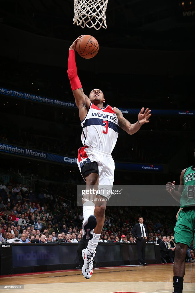 <a gi-track='captionPersonalityLinkClicked' href=/galleries/search?phrase=Bradley+Beal&family=editorial&specificpeople=7640439 ng-click='$event.stopPropagation()'>Bradley Beal</a> #3 of the Washington Wizards shoots against the Boston Celtics at the Verizon Center on April 2, 2014 in Washington, DC.