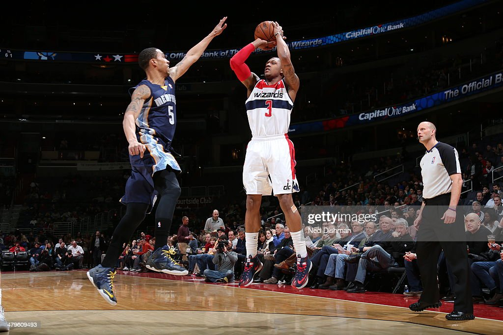 <a gi-track='captionPersonalityLinkClicked' href=/galleries/search?phrase=Bradley+Beal&family=editorial&specificpeople=7640439 ng-click='$event.stopPropagation()'>Bradley Beal</a> #3 of the Washington Wizards shoots against the Memphis Grizzlies at the Verizon Center on March 3, 2014 in Washington, DC.