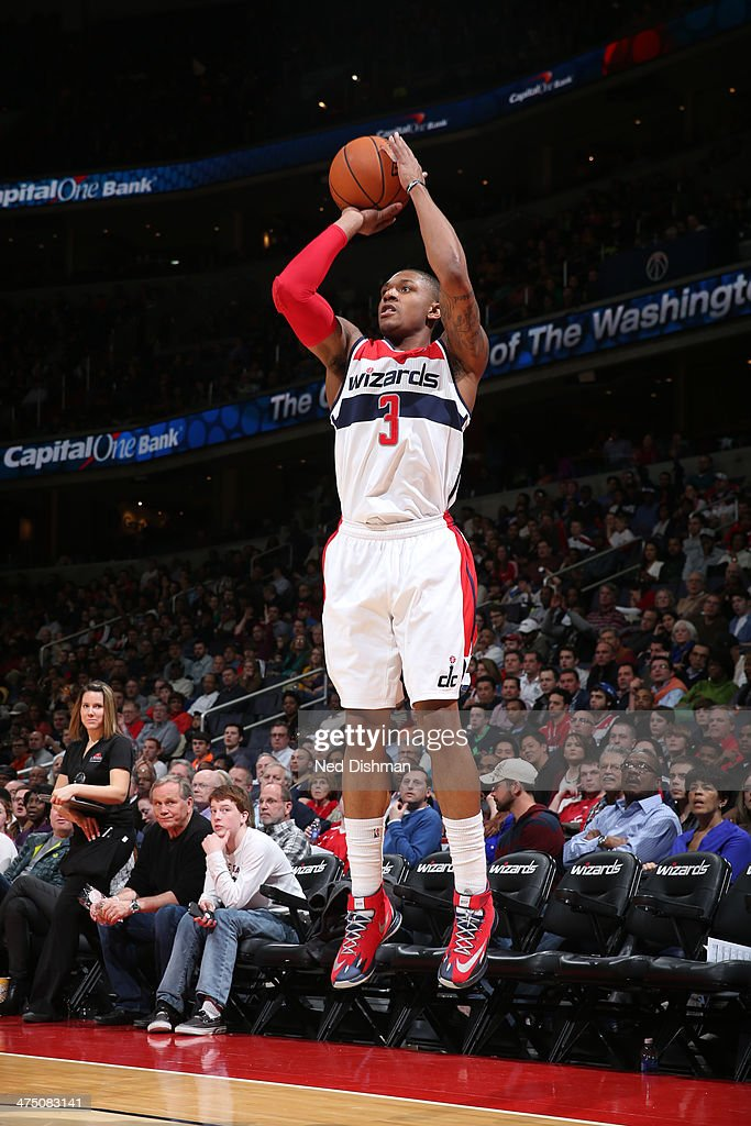 <a gi-track='captionPersonalityLinkClicked' href=/galleries/search?phrase=Bradley+Beal&family=editorial&specificpeople=7640439 ng-click='$event.stopPropagation()'>Bradley Beal</a> #3 of the Washington Wizards shoots against the New Orleans Pelicans at the Verizon Center on February 22, 2014 in Washington, DC.