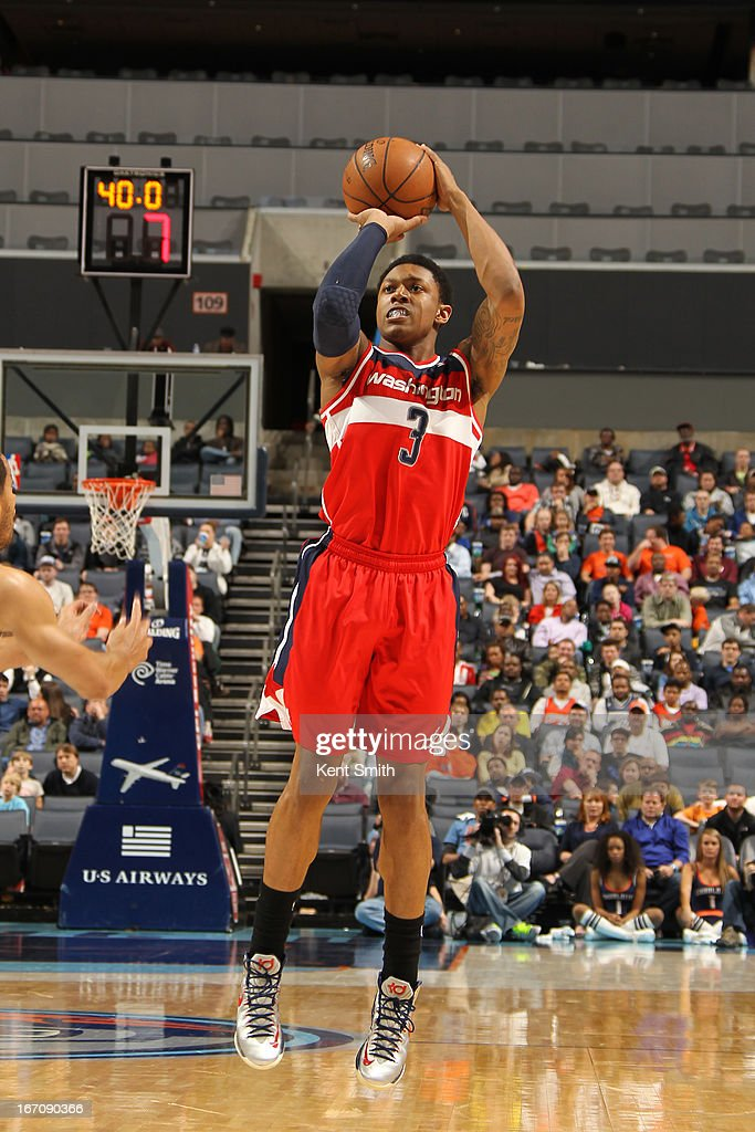 <a gi-track='captionPersonalityLinkClicked' href=/galleries/search?phrase=Bradley+Beal&family=editorial&specificpeople=7640439 ng-click='$event.stopPropagation()'>Bradley Beal</a> #3 of the Washington Wizards shoots the ball against the Charlotte Bobcats at the Time Warner Cable Arena on March 18, 2013 in Charlotte, North Carolina.