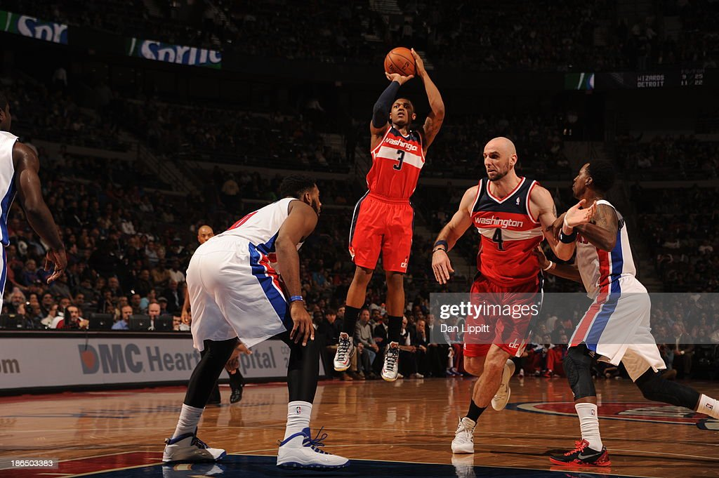 <a gi-track='captionPersonalityLinkClicked' href=/galleries/search?phrase=Bradley+Beal&family=editorial&specificpeople=7640439 ng-click='$event.stopPropagation()'>Bradley Beal</a> #3 of the Washington Wizards shoots the ball against the Detroit Pistons during the game on October 30, 2013 at The Palace of Auburn Hills in Auburn Hills, Michigan.