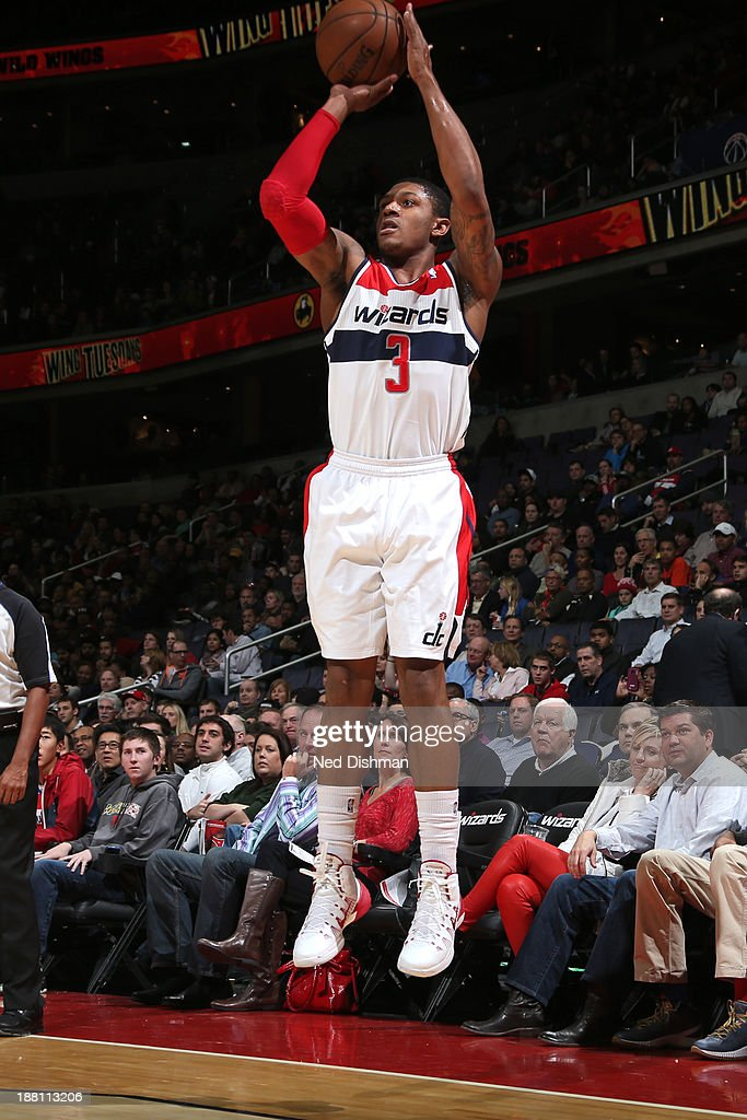 <a gi-track='captionPersonalityLinkClicked' href=/galleries/search?phrase=Bradley+Beal&family=editorial&specificpeople=7640439 ng-click='$event.stopPropagation()'>Bradley Beal</a> #3 of the Washington Wizards shoots the ball against the Brooklyn Nets at the Verizon Center on November 8, 2013 in Washington, DC.