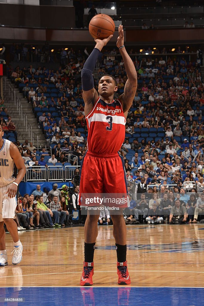 <a gi-track='captionPersonalityLinkClicked' href=/galleries/search?phrase=Bradley+Beal&family=editorial&specificpeople=7640439 ng-click='$event.stopPropagation()'>Bradley Beal</a> #3 of the Washington Wizards shoots the ball against the Orlando Magic during the game on April 11, 2014 at Amway Center in Orlando, Florida.