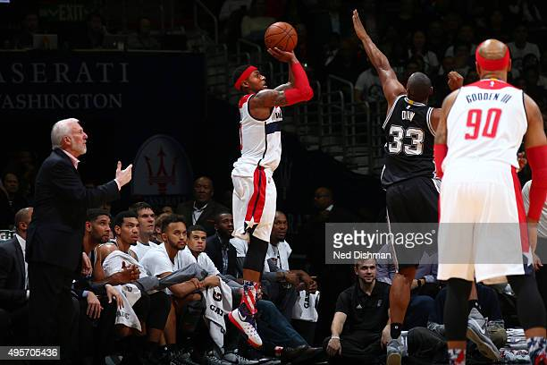 Bradley Beal of the Washington Wizards shoots the ball against the San Antonio Spurs during the game on November 4 2015 at Verizon Center in...