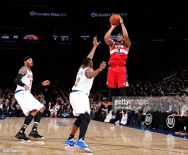 Bradley Beal of the Washington Wizards shoots the ball against the New York Knicks on February 9 2016 at Madison Square Garden in New York City New...