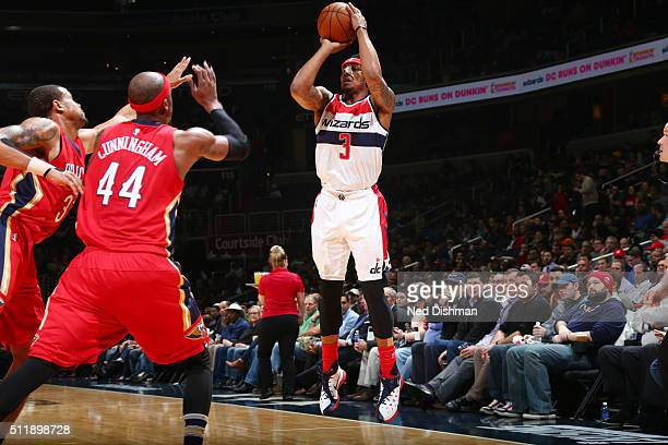 Bradley Beal of the Washington Wizards shoots the ball against the New Orleans Pelicans on February 23 2016 at Verizon Center in Washington DC NOTE...