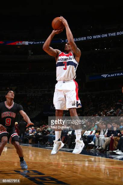 Bradley Beal of the Washington Wizards shoots the ball against the Chicago Bulls on March 17 2017 at Verizon Center in Washington DC NOTE TO USER...
