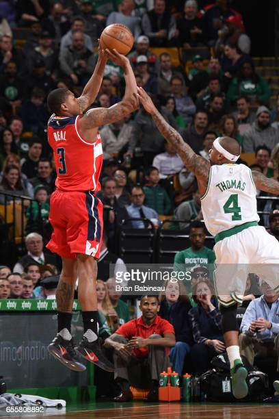 Bradley Beal of the Washington Wizards shoots the ball against the Boston Celtics on March 20 2017 at the TD Garden in Boston Massachusetts NOTE TO...