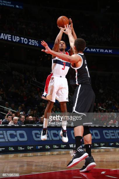 Bradley Beal of the Washington Wizards shoots the ball against the Brooklyn Nets on March 24 2017 at Verizon Center in Washington DC NOTE TO USER...