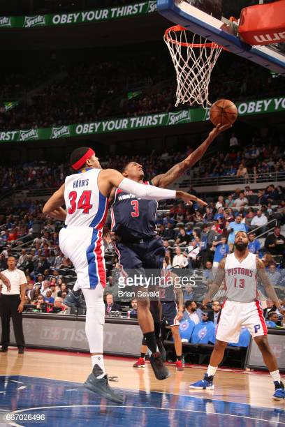 Bradley Beal of the Washington Wizards shoots the ball against the Detroit Pistons on April 10 2017 at The Palace of Auburn Hills in Auburn Hills...