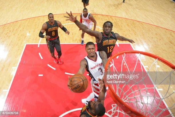 Bradley Beal of the Washington Wizards shoots the ball against the Atlanta Hawks during Game Two of the Eastern Conference Quarterfinals of the 2017...
