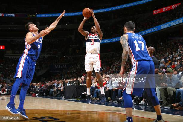 Bradley Beal of the Washington Wizards shoots the ball against the Philadelphia 76ers on October 18 2017 at Capital One Arena in Washington DC NOTE...