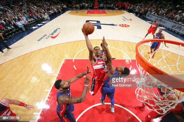 Bradley Beal of the Washington Wizards shoots the ball during game against the Detroit Pistons on October 20 2017 at Capital One Arena in Washington...