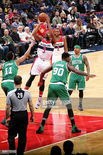 Bradley Beal of the Washington Wizards shoots the ball during the game against the Boston Celtics on January 25 2016 at Verizon Center in Washington...