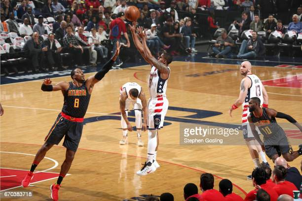Bradley Beal of the Washington Wizards shoots the ball during the game against the Atlanta Hawks during Game Two of the Eastern Conference...
