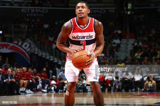 Bradley Beal of the Washington Wizards shoots the ball during the preseason game against the Cleveland Cavaliers on October 8 2017 at Capital One...