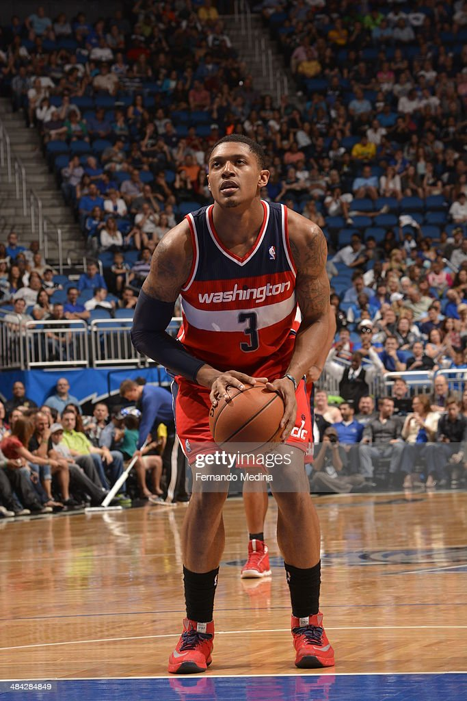 <a gi-track='captionPersonalityLinkClicked' href=/galleries/search?phrase=Bradley+Beal&family=editorial&specificpeople=7640439 ng-click='$event.stopPropagation()'>Bradley Beal</a> #3 of the Washington Wizards shoots the foul shot against the Orlando Magic during the game on April 11, 2014 at Amway Center in Orlando, Florida.