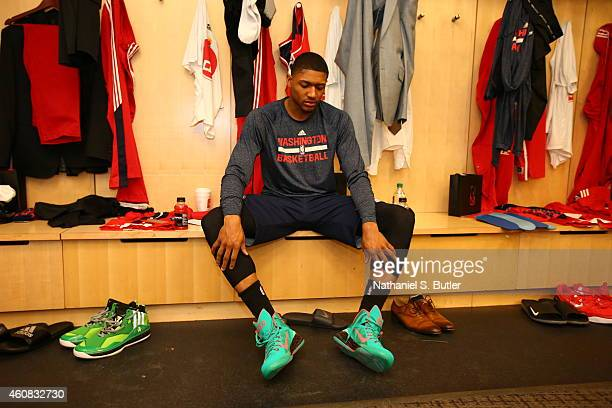 Bradley Beal of the Washington Wizards sits in the locker room before a game against the New York Knicks at Madison Square Garden on December 25 2014...