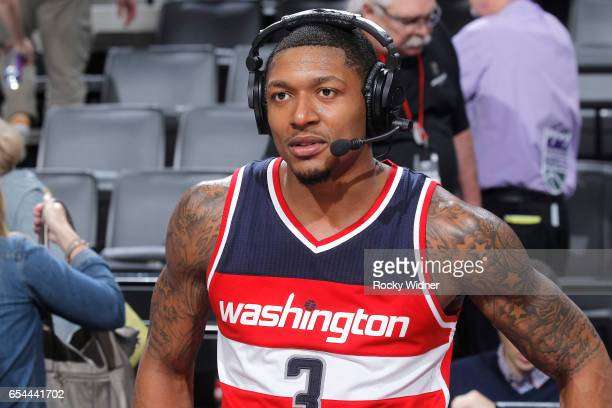 Bradley Beal of the Washington Wizards speaks with media after defeating the Sacramento Kings on March 10 2017 at Golden 1 Center in Sacramento...
